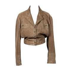 AZZEDINE ALAIA Vintage Military Green Suede PERFORATED JACKET SZ 38