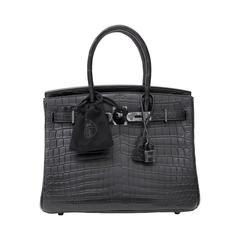 "Brand New Hermes Birkin 30 ""So black"" Matte Crocodile Niloticus"