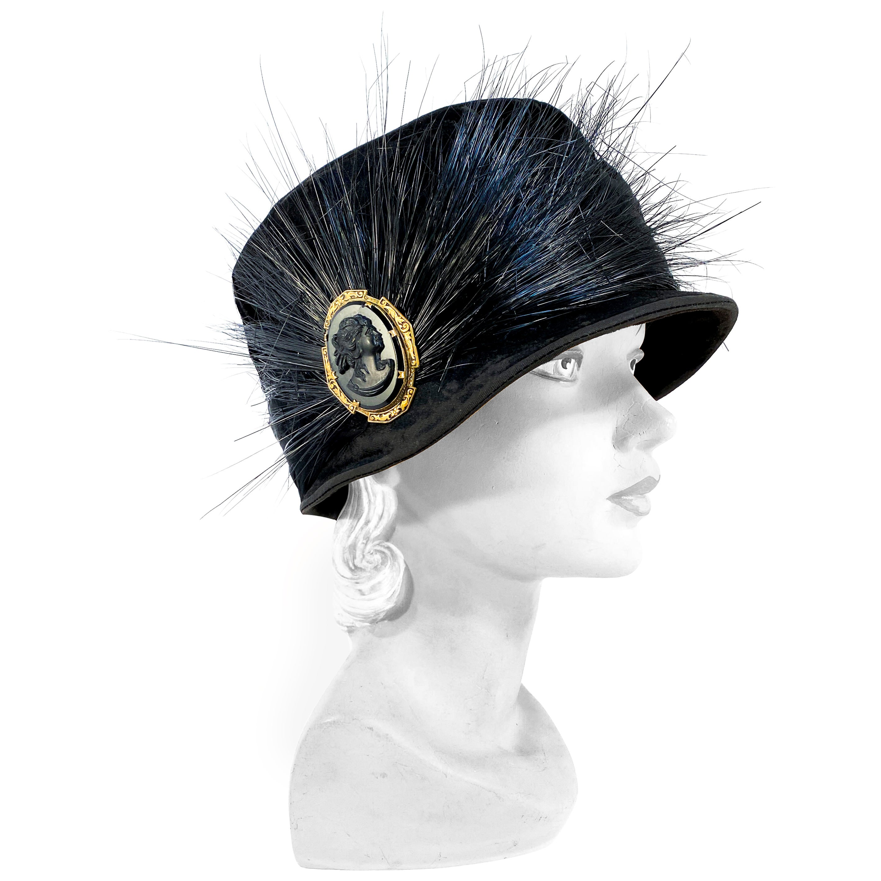 1920s Black Velvet Cloche with Black Feather, Horsehair, and Cameo Accents