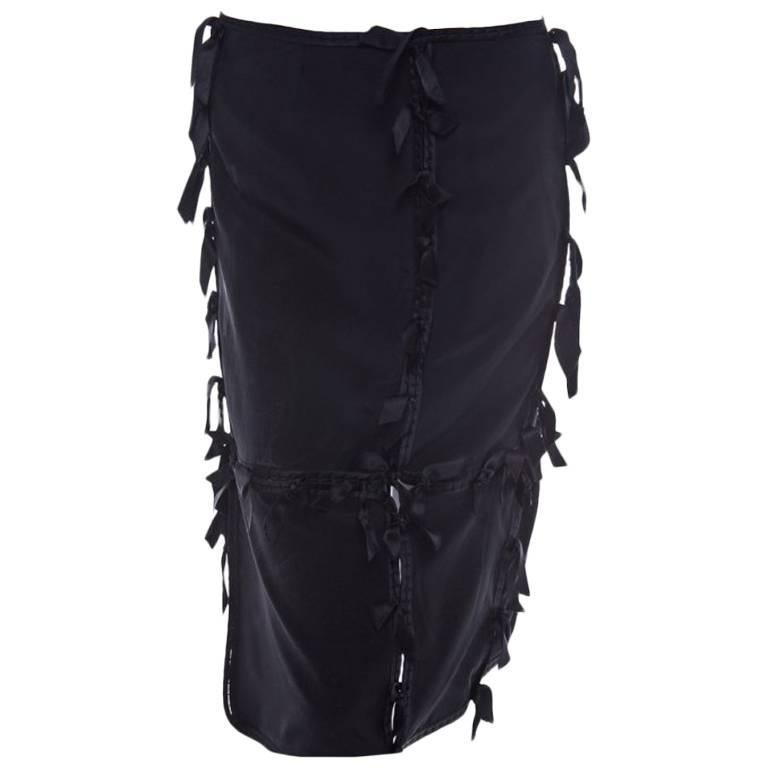 Tom Ford for Yves Saint Laurent Black Silk Ribbon Skirt