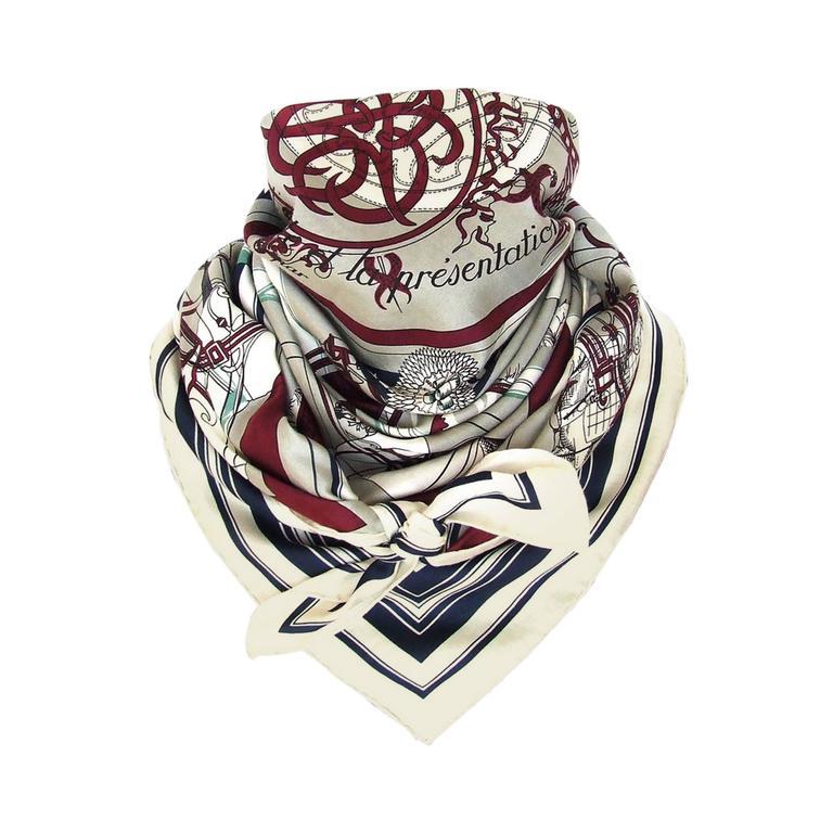 Authentic Hermes Cotton Silk Scarf Imprimeur Fou RARE For Sale