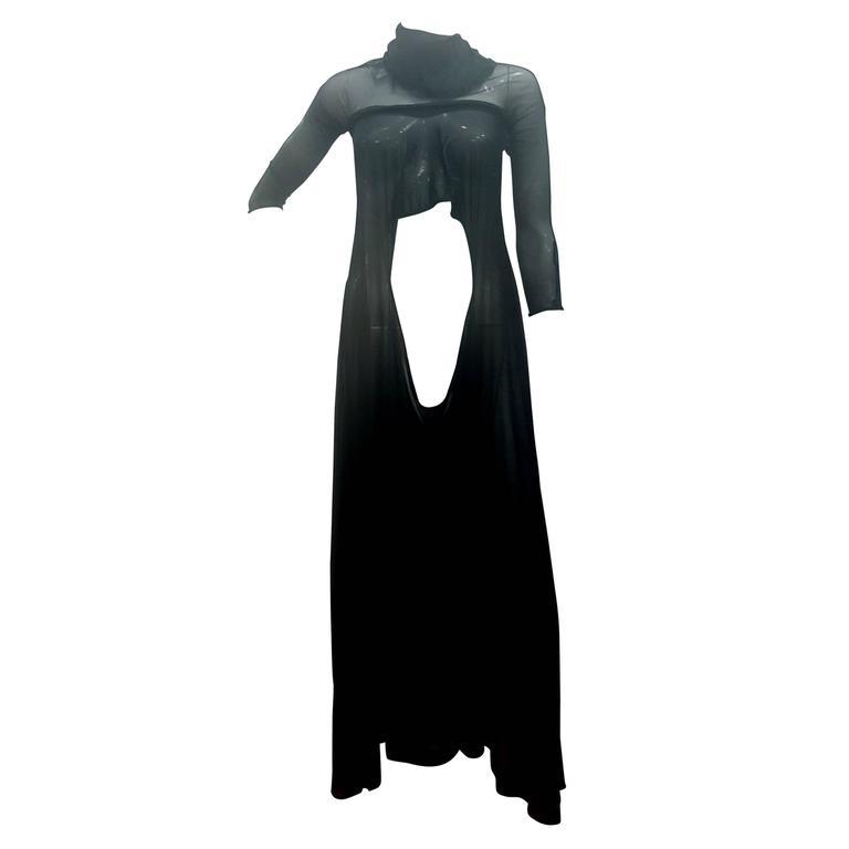 2003 Alexander McQueen Museum Piece See throught Black net Dress