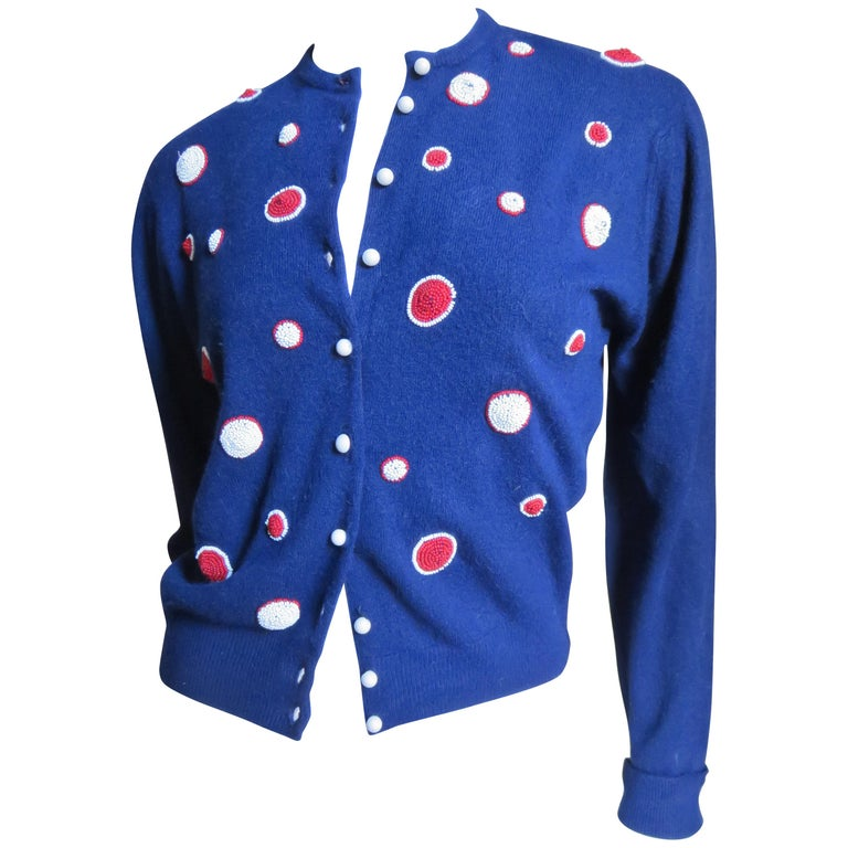1950s Elsa Schiaparelli Beaded Cashmere Cardigan Sweater