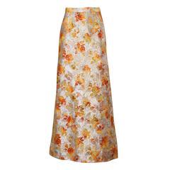 1960s Vintage Metallic Brocade Ombre Maxi Skirt