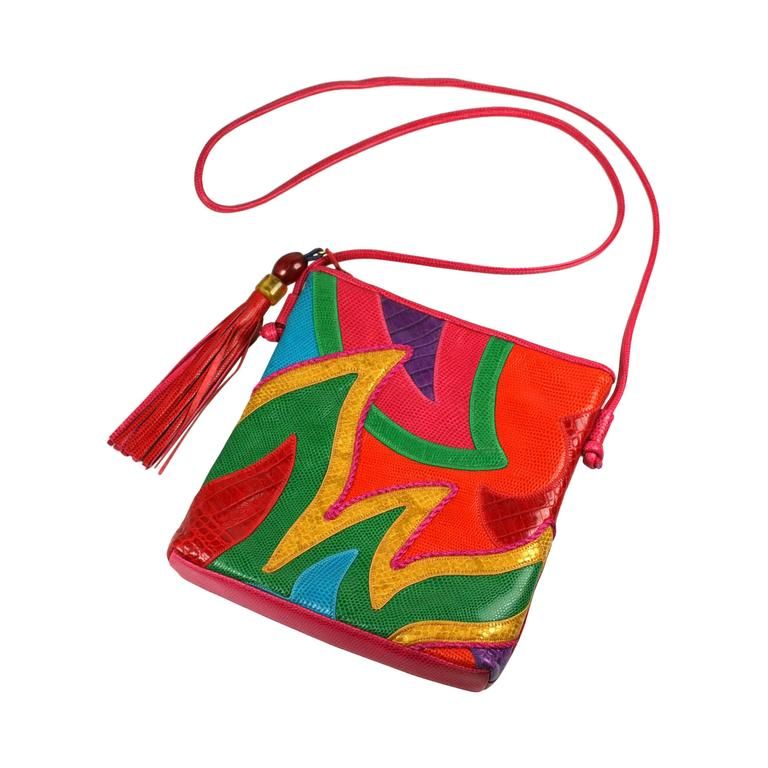 Sharif Vibrant Pieced Shoulder Bag For Sale