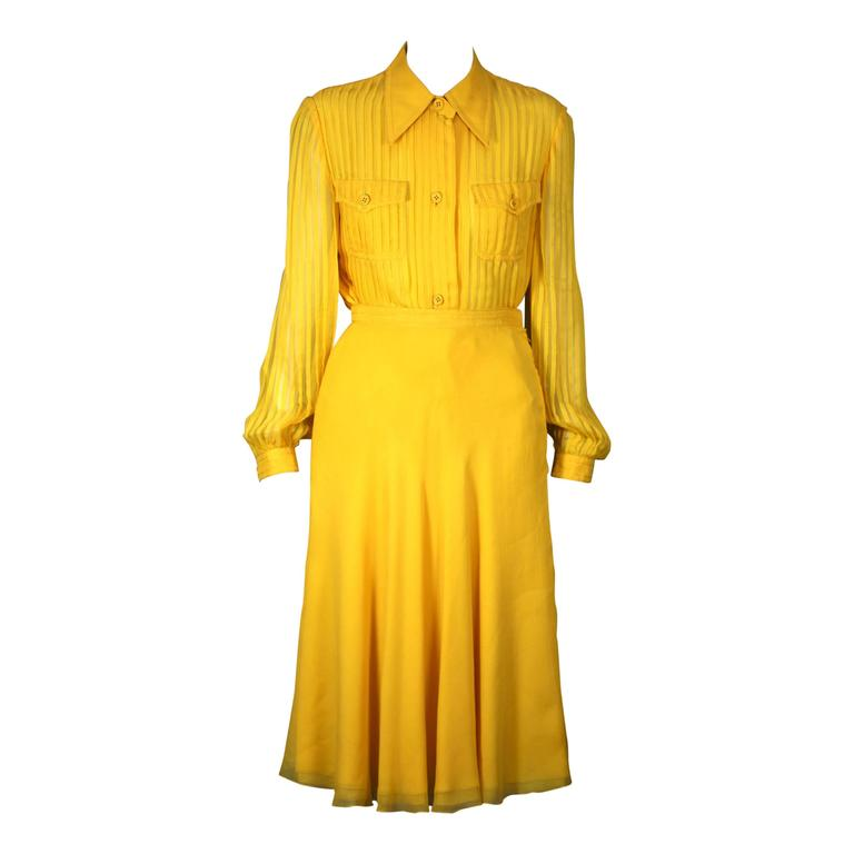 Galanos Charming Chrome Yellow Chiffon Skirt Ensemble For Sale
