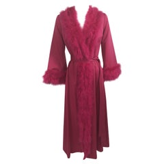 A Magnificent Magenta Marabou Feather Trimmed Caftan & Robe Vintage