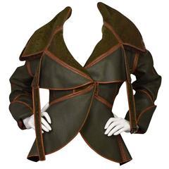 Fendi Olive Green & Brown Reversible Shearling Coat sz 44