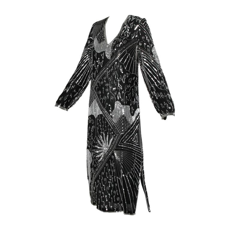 Saks Fifth Avenue Vintage Sequin Beaded Silk Flapper Dress at 1stdibs