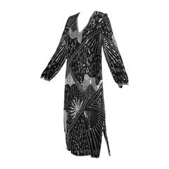 Saks Fifth Avenue Vintage Sequin Beaded Silk Flapper Dress