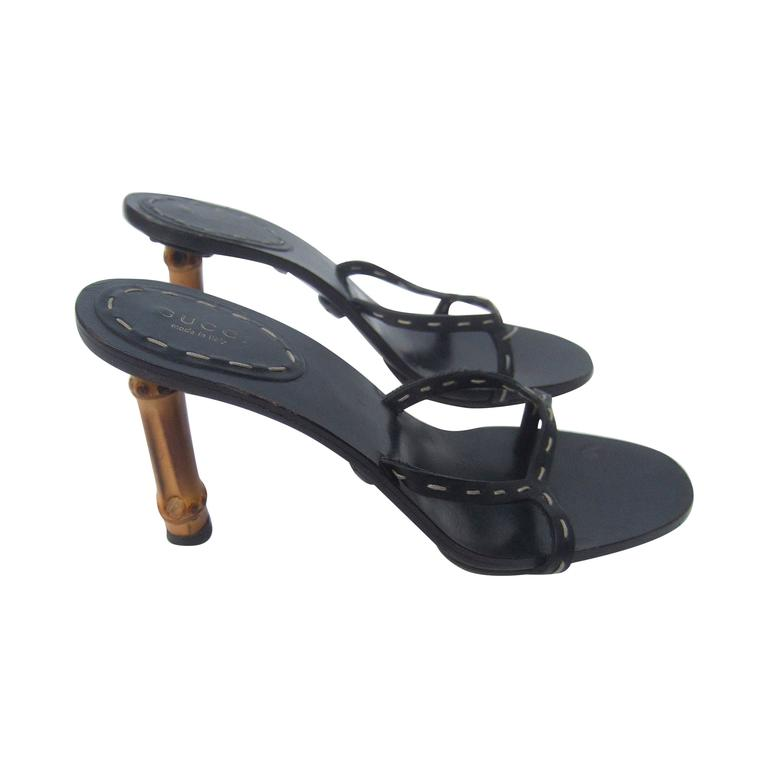 Gucci Italy Black Leather Bamboo Heel Sandals US Size 7B  For Sale