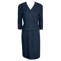 Chanel Midnight Blue Maison Lesage Tweed Jacket Skirt Suit