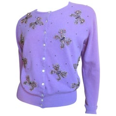 1950s Peck & Peck Butterfly Beaded Cashmere Sweater