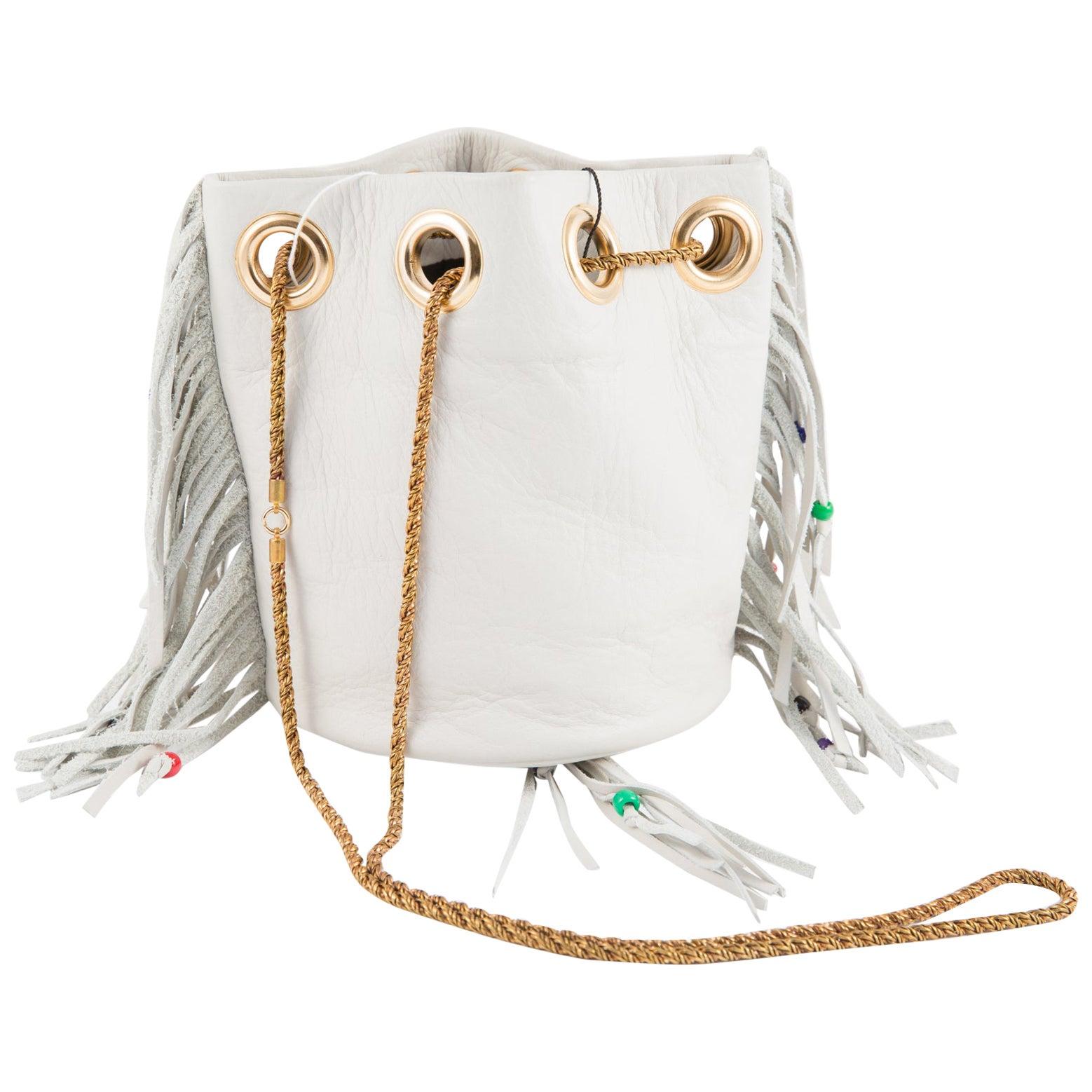 Hippy Look Fringed Off White Leather Shoulder Bag