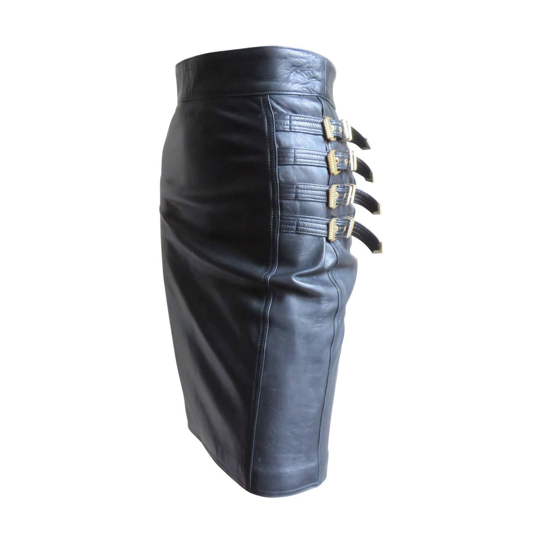 04a84604 1990s Gianni Versace Bondage Leather Skirt
