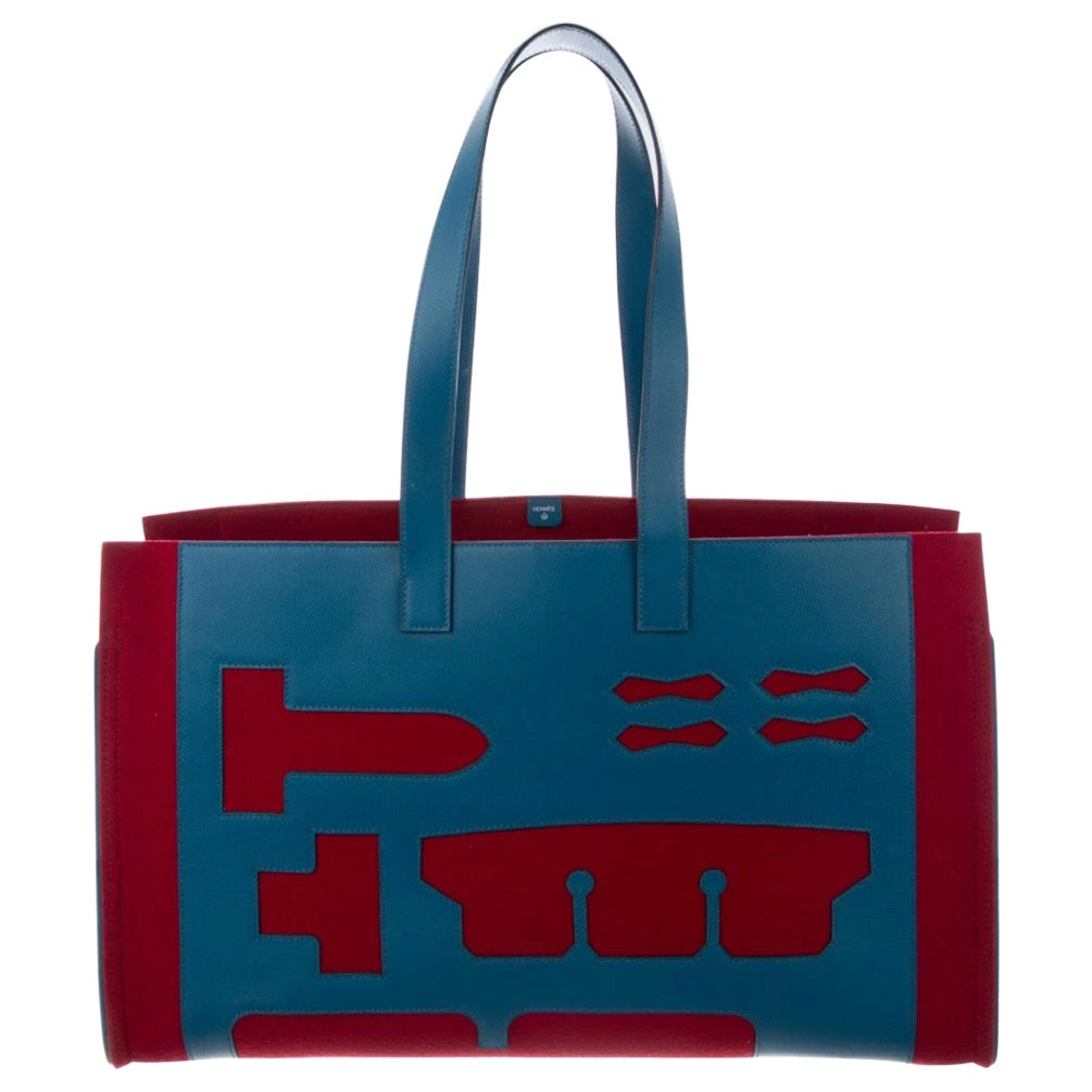 Hermes Burgundy Blue Felt Leather CarryAll Men's Women's Top Handle Tote Bag