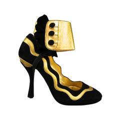 PRADA Size 6 Black & Gold Suede Ankle Ruffle Cuff Metalic Pumps SS 2008