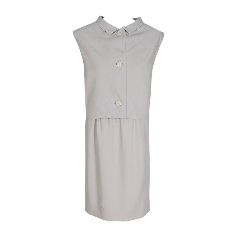 1964 Givenchy Haute-Couture White Linen Tailored Sleeveless Mod Dress Ensemble