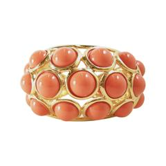 Kenneth Jay Lane Faux Coral Clamper Cuff Bracelet