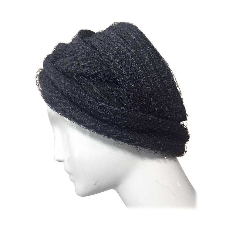 1960s Christian Dior Navy Blue Straw and Tulle Turban For Sale