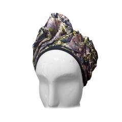 1950s Abstract Floral Print Silk Turban Hat with Velvet Band