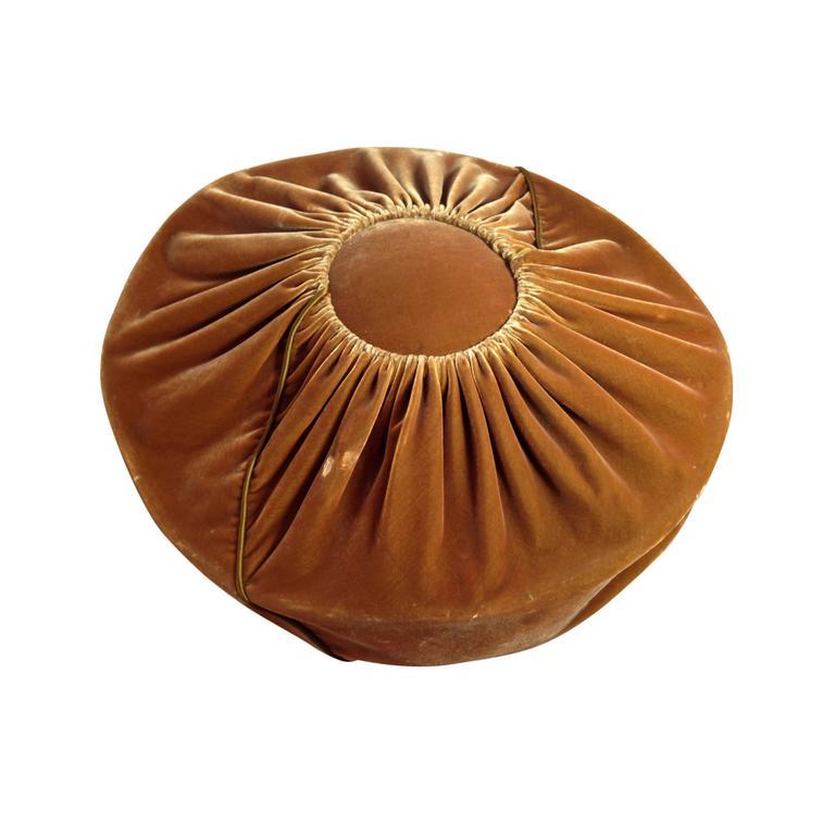 1940s Leslie James Tobacco Velvet Avant Garde Structured Cartwheel Hat