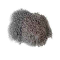 Contemporary Smoke Gray Mongolian Lamb Fur Chubby --1940s Style