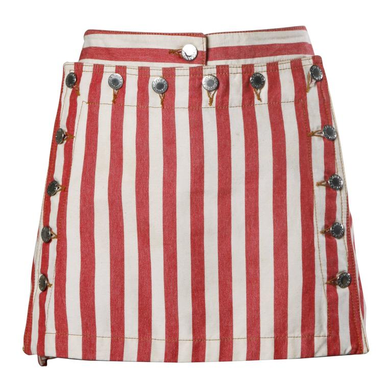 Dolce & Gabbana Red Striped Denim Mini Skirt with Lace Up Detail For Sale