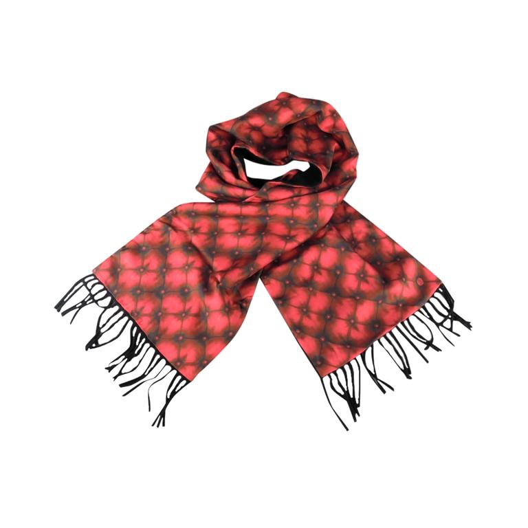 Alexander Mcqueen Red Tufted Print Satin Fringe Scarf For Sale