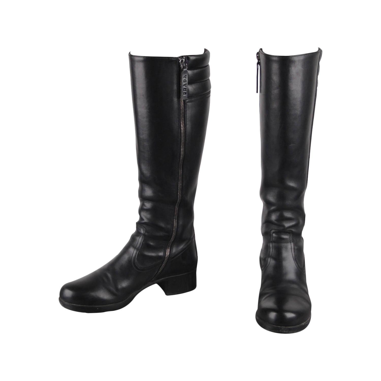 Prada Italian Black Leather Knee High Heeled Low Heels