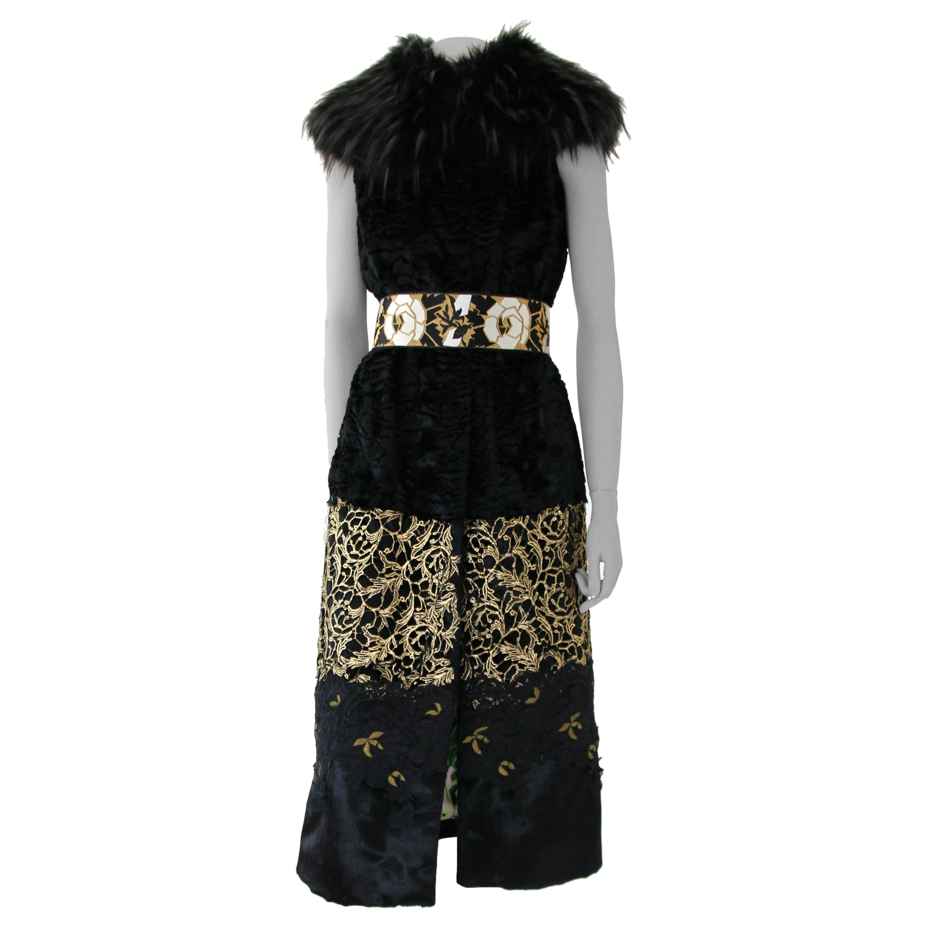 Pelush Black Faux Fur Astrakhan Vest with Gold Guipure and Faux Fox Collar - S