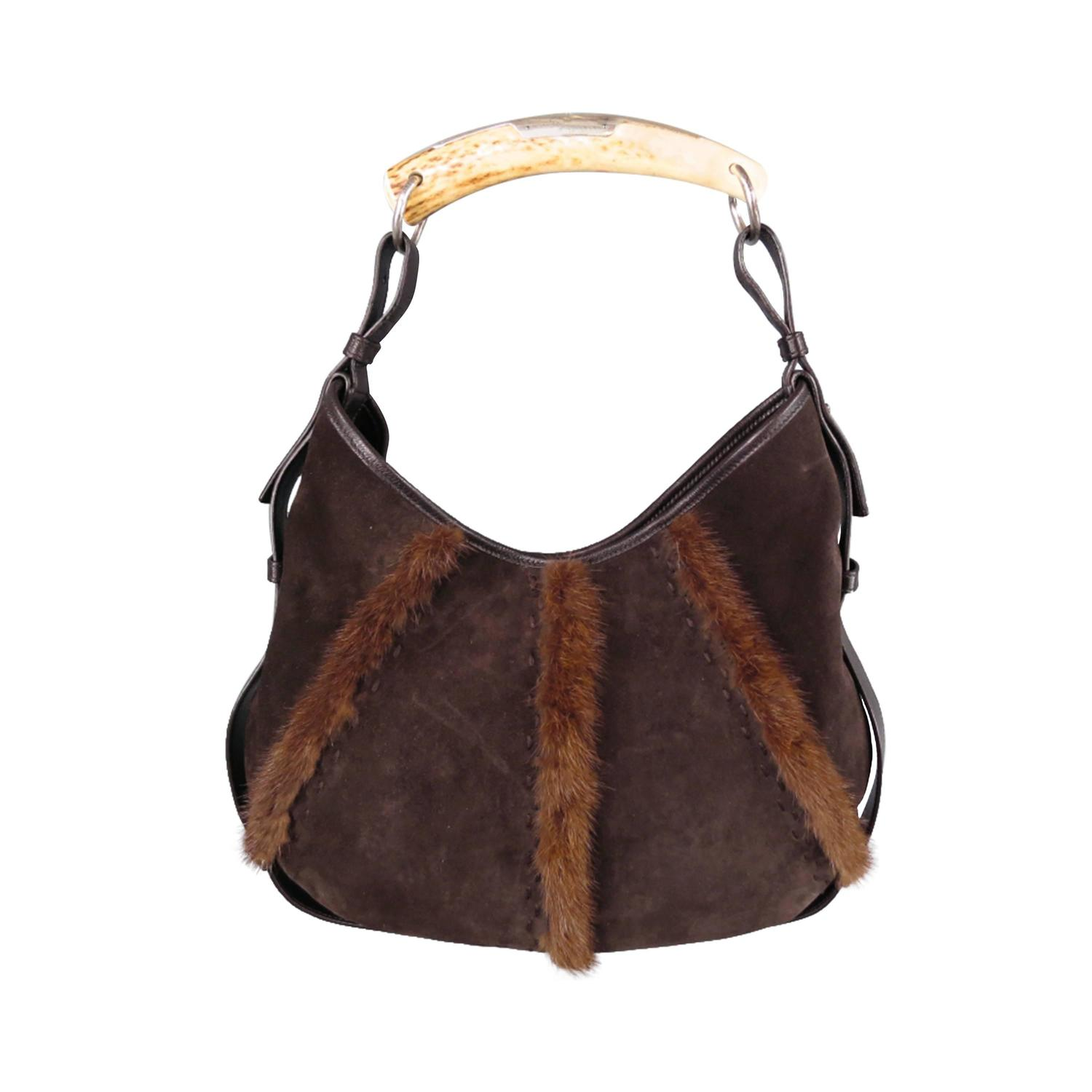 Yves Saint Bag Laurent By Tom Ford Brown Suede And Fur Mombasa Horn