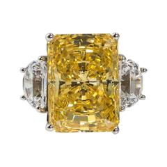 Magnificent Faux Canary Yellow 25 Carat Radiant Cut Diamond Ring