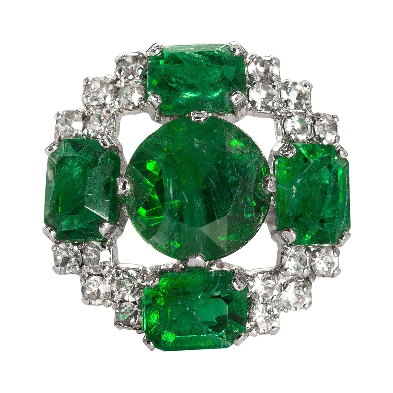 signed vintage 1960s christian faux emerald