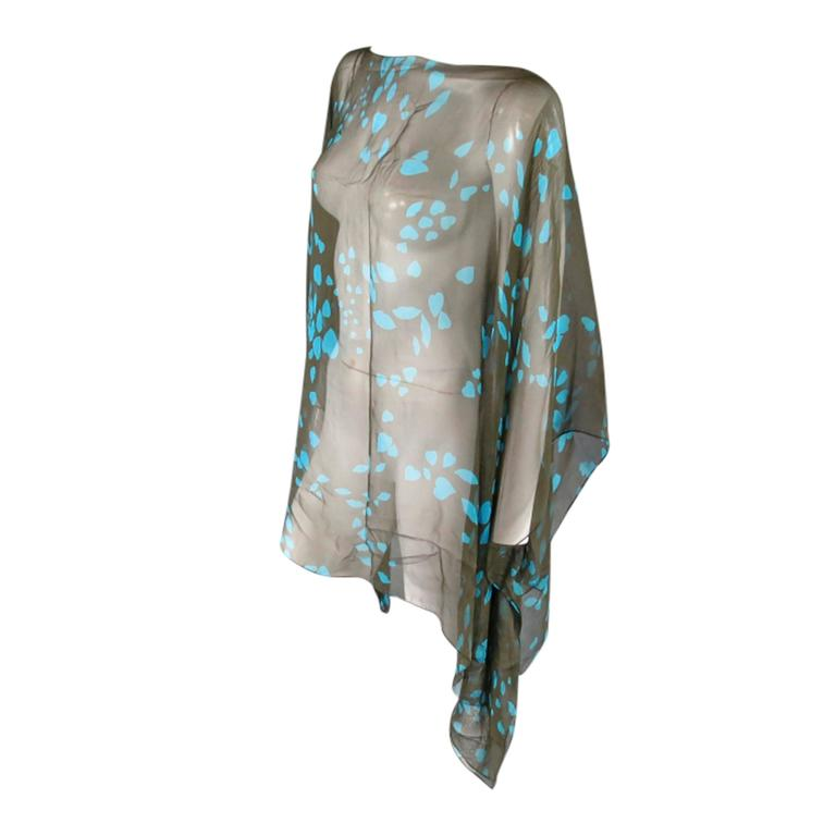 YVES SAINT LAURENT Green & Blue Lip Print Chiffon Scarf Shawl Top