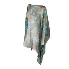 Yves Saint Laurent Green and Blue Lip Print Chiffon Scarf Shawl Top