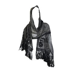 Floral Embroidered Silver Metal on Net Assuit Fringe Shawl