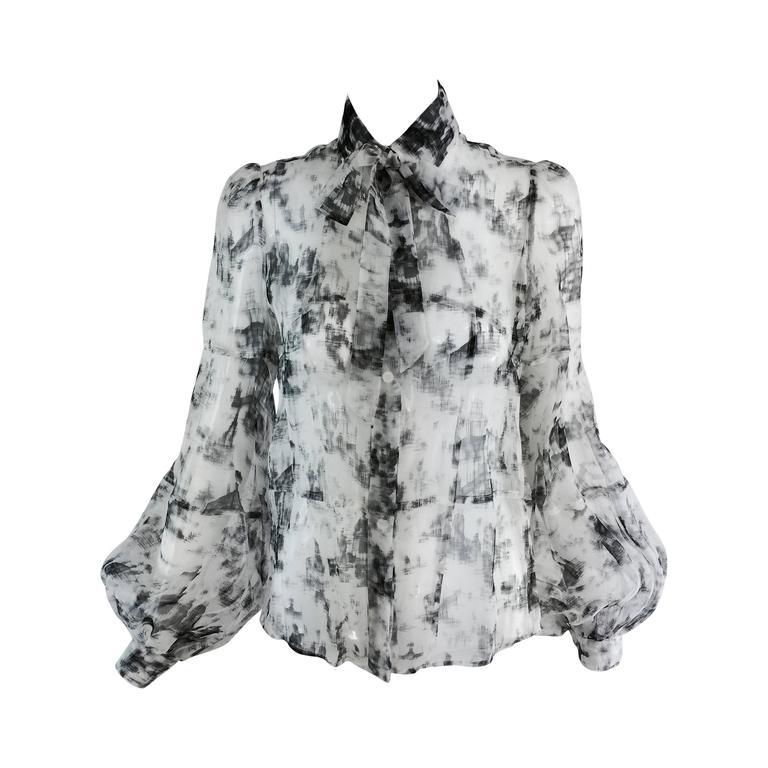 Valentino Hiver 2008 black & white organza blouse For Sale