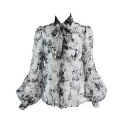 Valentino Hiver 2008 black & white organza blouse