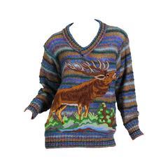 1980s Missoni Elk Novelty Sweater