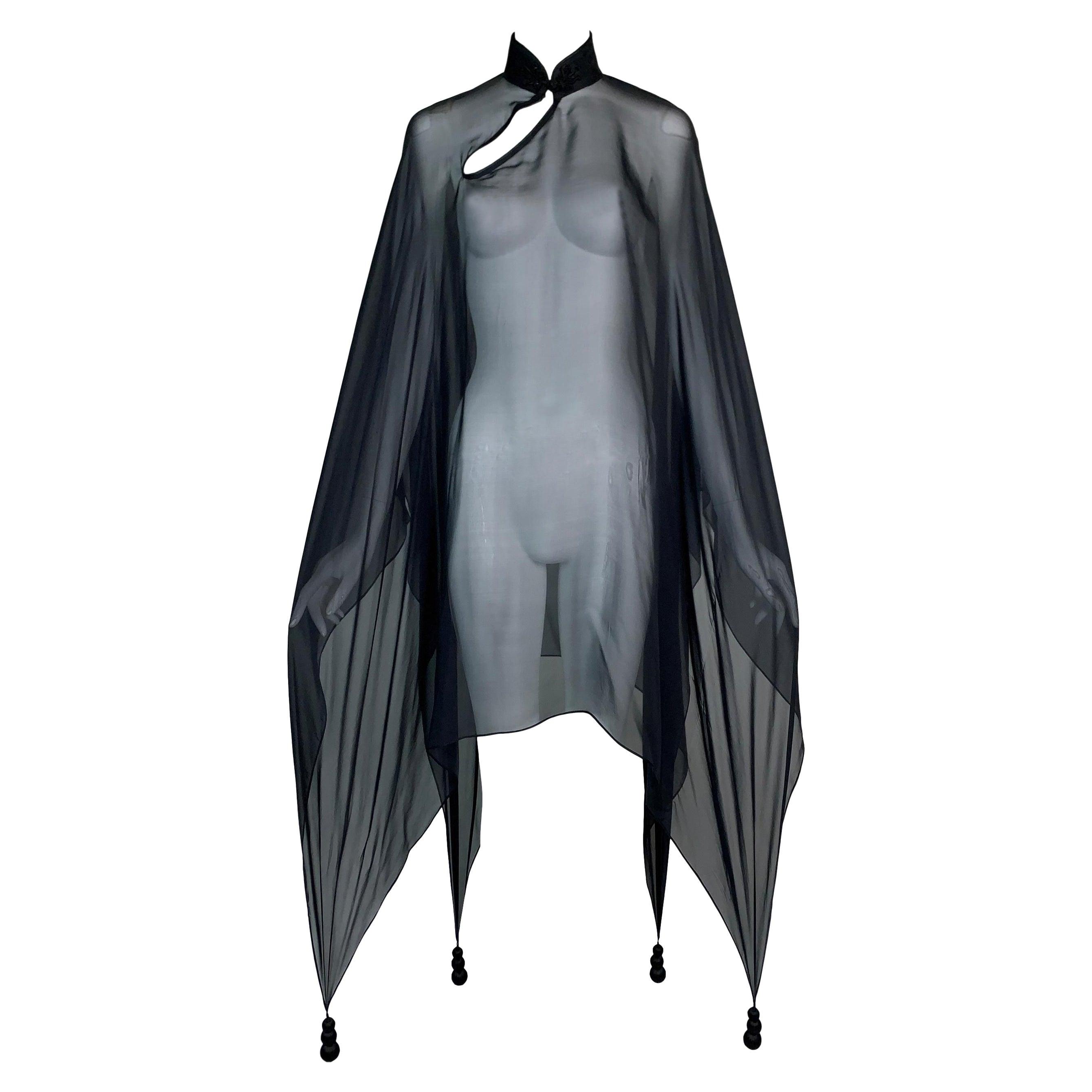 1990's Jean Paul Gaultier Sheer Black Silk Chinoiserie Dress Poncho