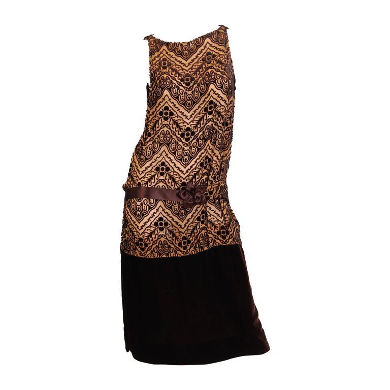 1920s Silk Devoré Velvet Dress For Sale