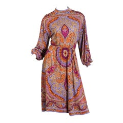 1970s Leonard Wool Jersey Dress with Rich Indian Floral Print