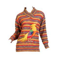 1980s Missoni Pheasant Novelty Sweater