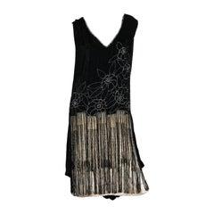 1920S Black & White Silk Velvet  Fringe Cocktail Dress With Rhinestones