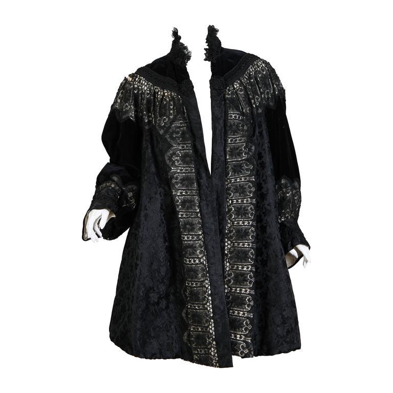 1890s Belle Epoch Silk Damask Velvet and Lace Jacket 1