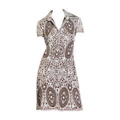 Naeem Khan Lace Embroidered Chiffon Dress