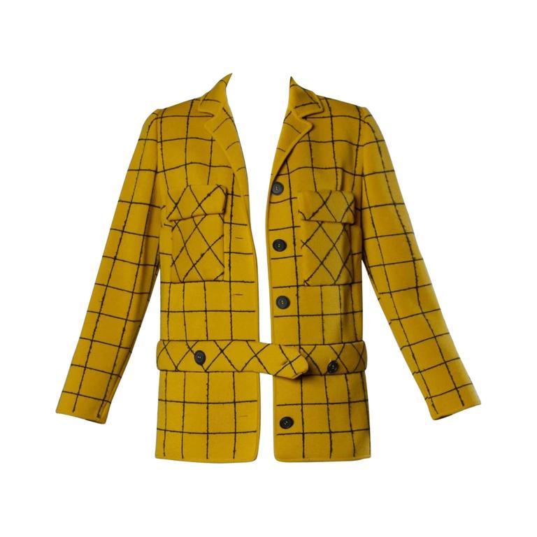 1960s Vintage Gino Paoli Mustard Yellow Italian Wool Knit Sweater Jacket