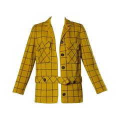 1960s Vintage Gino Paoli Mustard Yellow Italian Wool Knit Sweater Jacket