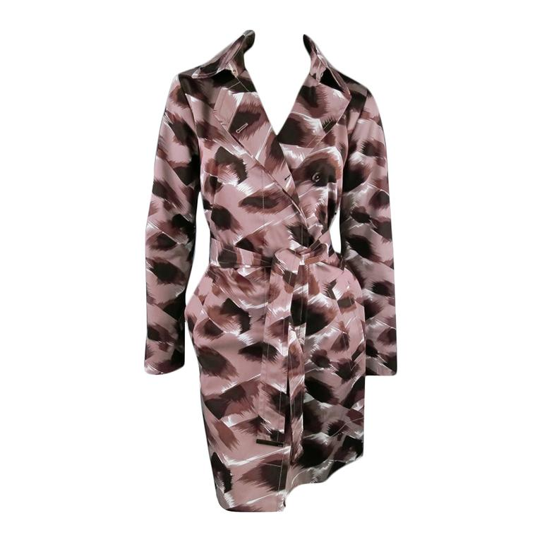 GUCCI Size 6 Taupe Cotton Marble Brush Stroke Print Belted Trenchcoat For Sale